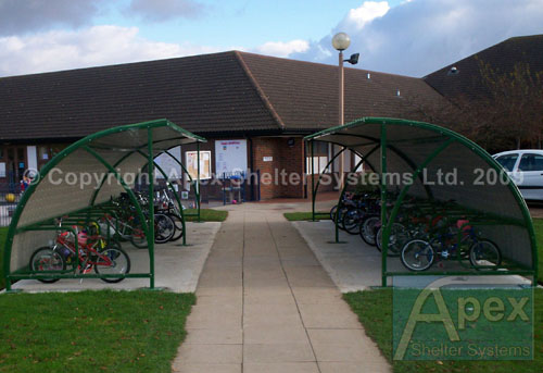 Alpha Pep iR Cycle Rack and Shelter with Plastisol Roof and Clear End