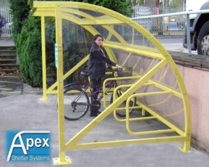 Alpha Bike Shelter showing integral cycle rack