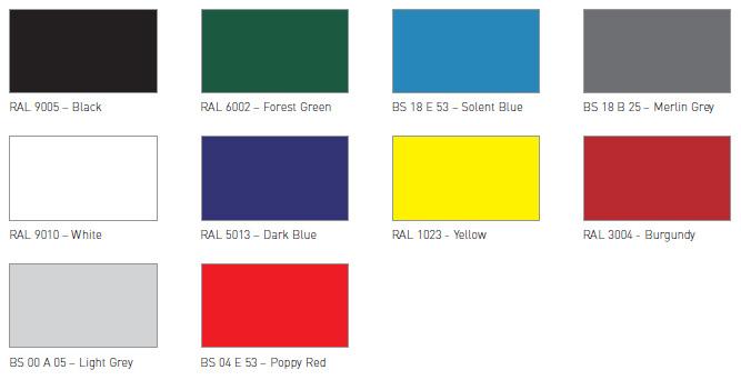 Colour Charts - Apex SheltersApex Shelters