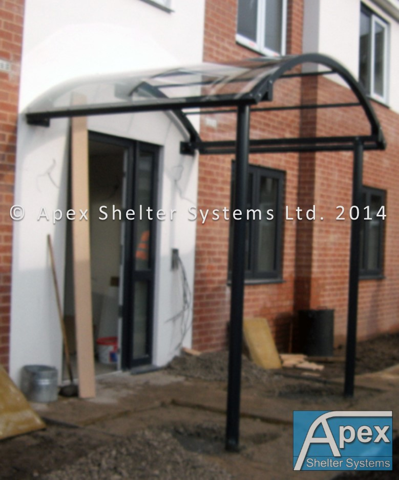 Curved Roof Door Canopy - Entrance Canopy - Apex Shelters